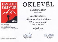 Teljesítménytúrák :: Kiss Péter emléktúra 2020 :: oklevél.jpg ::